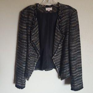Loft Draped Fringe Tweed jacket